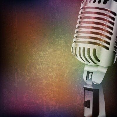 Nálepka abstraktní grunge pozadí s retro mikrofon