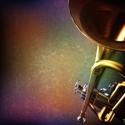 Nálepka abstraktní grunge pozadí s trumpetu