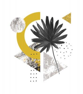 Nálepka Abstraktní letní geometrické tvary, exotické listy. Trojúhelníky plné mramoru, grunge textury, čmáranice, akvarel ventilátor palmový list. Ručně malované geometrické umění ilustrace v moderním minimal