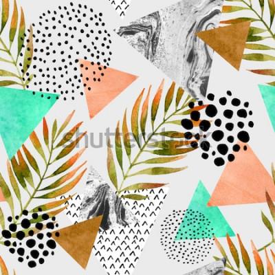 Nálepka Abstraktní letní geometrický vzor bezešvé. Trojúhelníky s palmovými listy a mramorové grunge textury. Geometrické pozadí abstraktní v retro vintage 80s 90s pop art. Ručně tažené letní přírodní ilustra