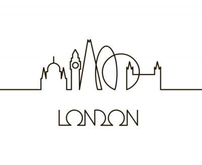 Nálepka abstraktní lineární ilustrace londýnského města na bílém pozadí