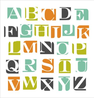 Nálepka abstraktní moderní abeceda plakát
