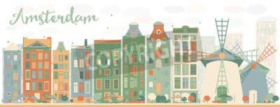 Nálepka Abstraktní panorama města Amsterdam s barevnými budovami. Vektorové ilustrace. Koncept cestovního ruchu a cestovního ruchu s historickými budovami. Obrázek pro prezentaci, banner, plakát a webové strá