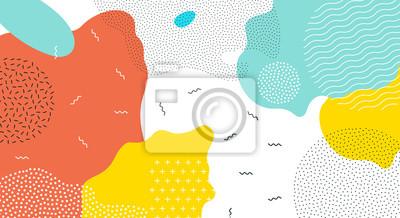 Nálepka Abstraktní pop art barva barvy splash vzor pozadí. Vektorové překryvné geometrické provedení moderního stylu Memphis 80s-90s