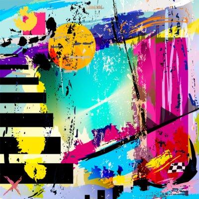 Nálepka abstraktní pozadí, s čtverce, trojúhelníky, laků a tahy
