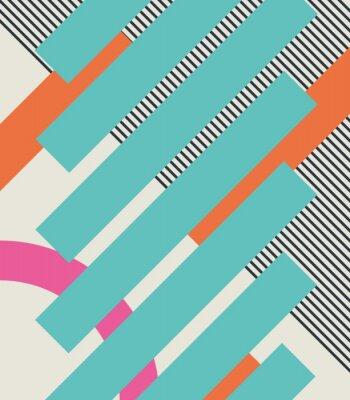 Nálepka Abstraktní retro 80s pozadí s geometrickými tvary a struktury. Materiálové provedení.