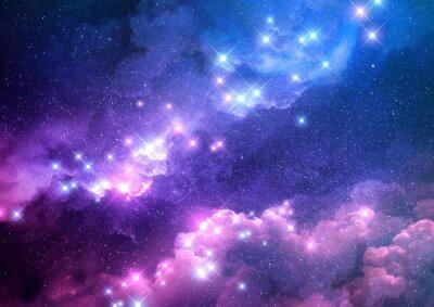 Nálepka Abstraktní růžové a modré pozadí galaxie plné jasných hvězd. Rastrová ilustrace.