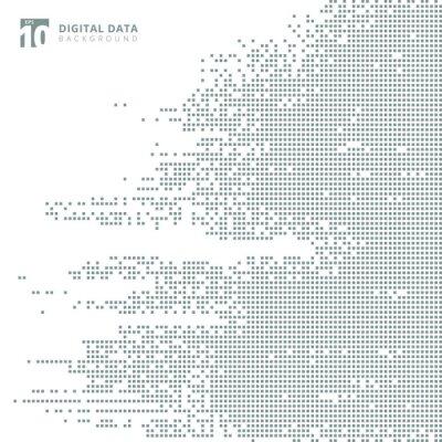 Nálepka Abstraktní technologie digitální data čtvercový šedý vzor pixel pozadí.