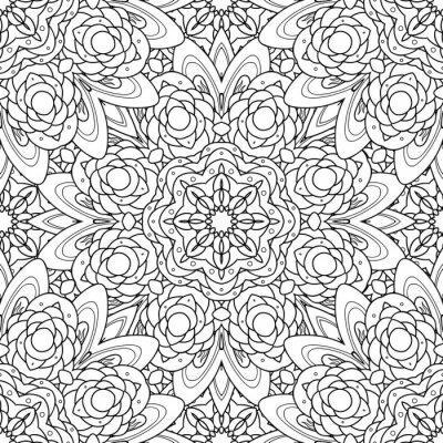 Nálepka Abstraktní vektorové dekorativní etnické mandala černé a bílé bezešvé vzor.
