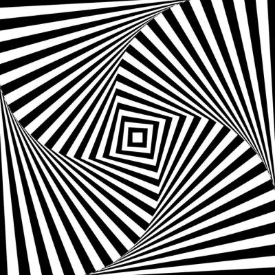 Nálepka Abstraktní vektorové optická iluze v černé a bílé
