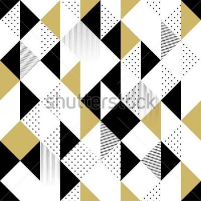 Nálepka Abstraktní vzor bezešvé. Bezešvé vzor s trojúhelníky. Zlaté černé a bílé trojúhelník vzor. Vektorové ilustrace