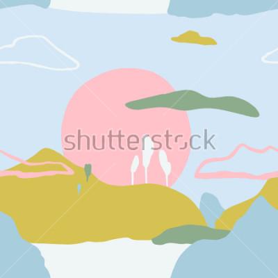 Nálepka Abstraktní vzor se západem slunce na horách. Umělecká současná příjemová textura. Ready design nápady pro plakát, trendová karta, pozvánka, plakát, brožura, leták, prezentace a další.