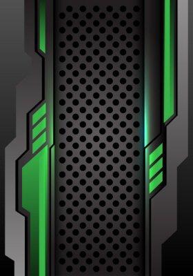 Nálepka Abstraktní zelená tmavě šedá futuristická na kruhové oko design moderní futuristické pozadí vektorové ilustrace.