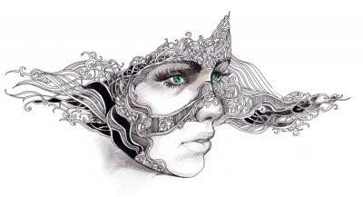 Nálepka abstraktní ženská tvář