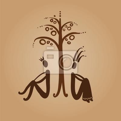 Adam a Eva sedí pod jabloní