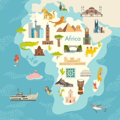 Nálepka Africa continent, world map with landmarks vector cartoon illustration. Abstract African landmarks, animals, sign and icon cartoon style.  Poster, art, travel card