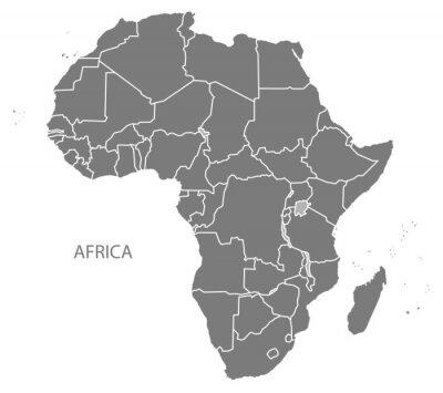 Nálepka Africa Map se zeměmi šedými