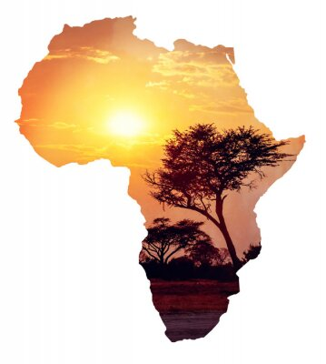 Nálepka Africké slunce s arabskou gumu, Map of Africa koncept