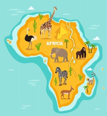 Nálepka Afrických zvířat volně žijících živočichů vektorové ilustrace. Africké fauny, pštros, žirafa, slon, opice, zebra, lemur, antilopy v kresleném stylu. Afrického kontinentu v modrém oceánu s volně žijící
