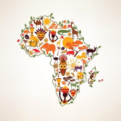Nálepka Afrika cestovní mapa, decrative symbol Afriky kontinentu s ETH