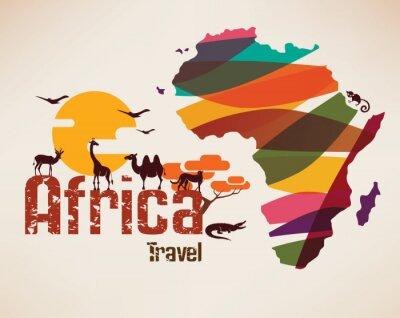 Nálepka Afrika cestovní mapa, decrative symbolem Afriky kontinentu s ETH
