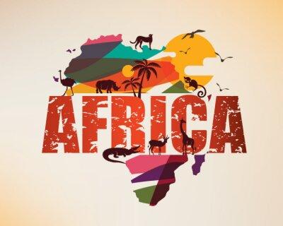 Nálepka Afrika cestovní mapa, dekorativní symbol afrického kontinentu s siluety divokých zvířat