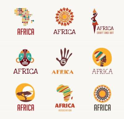 Nálepka Afrika, ikony Safari a element set