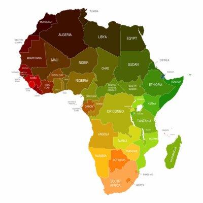 Nálepka Afrika Mapa barevné obrazce Zemi