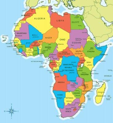 Nálepka Afrika mapa se zemí a měst