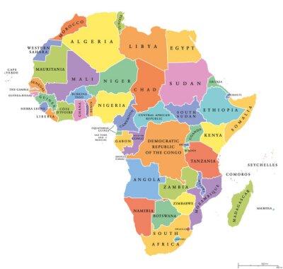 Nálepka Afrika single uvádí politické mapy. Každá země má své vlastní barevné plochy. S státních hranic na bílém pozadí. Kontinent, včetně Madagaskaru a ostrovních národů. Anglické označení.