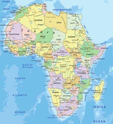 Nálepka Afrika - velmi podrobné upravitelné politická mapa.
