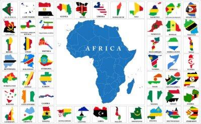 Nálepka Afrika země vlajka mapy