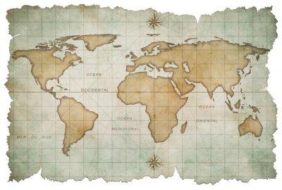 Nálepka aged world map isolated on white