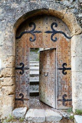 Nálepka Ajar old wooden door