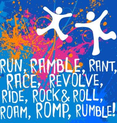 Nálepka aktivní postavy motivační textový fitness plakát series