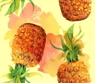 Nálepka Akvarel ananas bezešvé vzor na pozadí