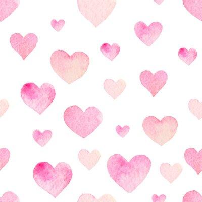 Nálepka Akvarel bezešvé vektoru vzor se srdíčky na Valentýna