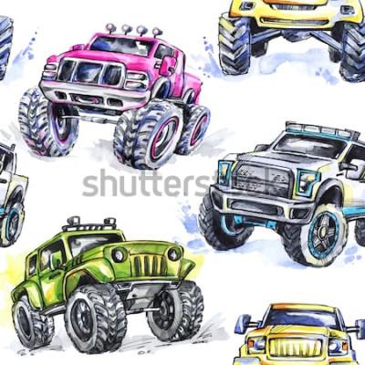 Nálepka Akvarel bezešvé vzor Cartoon Monster Trucks. Barevné pozadí extrémní sporty. 4x4. SUV vozidla off road. Životní styl. Mužský koníček.