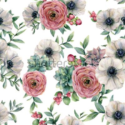 Nálepka Akvarel bezešvé vzor s sukulentní, pryskyřník, sasanka. Ručně malované květy, eucaliptus listy a sukulentní větev izolovaných na bílém pozadí. Pvk pro design, tisk nebo pozadí