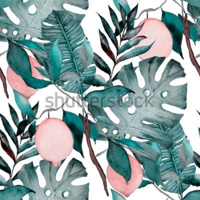Nálepka Akvarel bezešvé vzor s tropickými listy a citrusové plody. Módní botanický tisk.