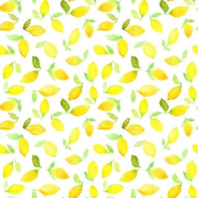 Nálepka Akvarel bezešvé vzor se žlutými citrony. Může být použit pro balicí papír, pozadí narozeniny, Den matek a všechny svátky.