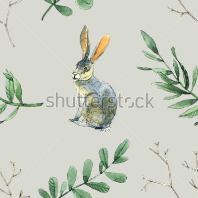 Nálepka Akvarel bezešvé vzorky s králíky, listy a větve bude dobré pro dárkové balení, design krabice, místo a pozadí blahopřání a atd.