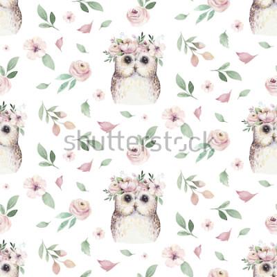 Nálepka Akvarel Bezproblémové ručně ilustrované květinovým vzorem s květinovými listy, růžové květy a baby sova. Akvarel boho jarní tapeta botanické pozadí textilu