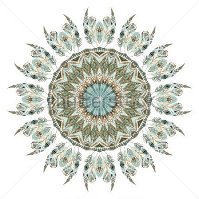 Nálepka Akvarel etnické peří abstraktní mandala. Krajka vzor s ozdobným peřím s geometrickými prvky izolované na bílém pozadí. Ručně malovaná ilustrace pro boho, kmenový design