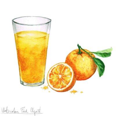 Nálepka Akvarel Food Clipart - Pomerančový džus izolovaných na bílém