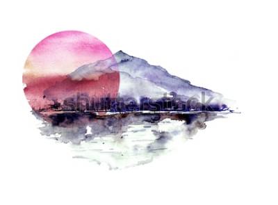 Nálepka Akvarel horské krajiny, modré, fialové hory, vrchol, lesní silueta, odraz v řece, červené slunce slunce. Na bílém pozadí izolované. Na bílém pozadí izolované.