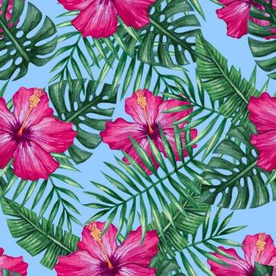 Nálepka Akvarel ibišek květ a palmového listí bezproblémové vzor. Vektorové ilustrace.