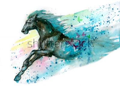 Nálepka Akvarel ilustrace koně. Ručně kreslenými
