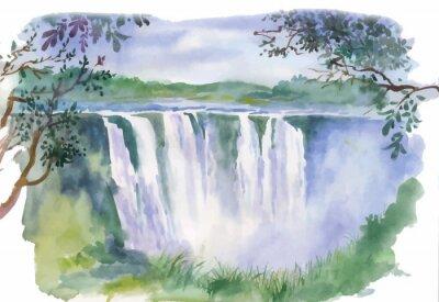 Nálepka Akvarel ilustrace krásný vodopád