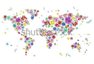 Nálepka Akvarel ilustrace mapa světa v květech